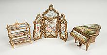 Austrian Enameled & Gilt Metal Tiered Stand, Folding Screen & Grand Piano