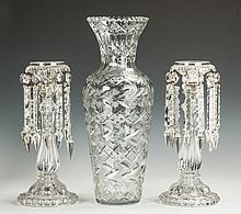 Molded & Etched Glass Candlesticks & Cut & Etched Vase