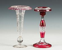 Two Ruby Cut to Clear Vases