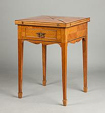 Kingwood & Ebony Handkerchief Card Table with Drawer