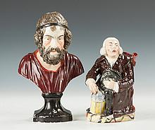 Staffordshire Bust of Homer & A Toby Jug of George Whitfield