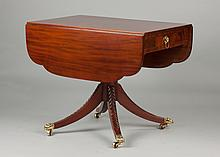 New York Mahogany Drop Leaf Table with Drawer