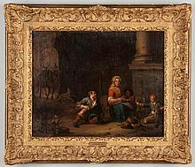 Attr. to Karel Dujardin (Dutch, 1622-1678) Family Genre Scene