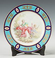 Sevres Hand Painted Porcelain & Enameled Plate