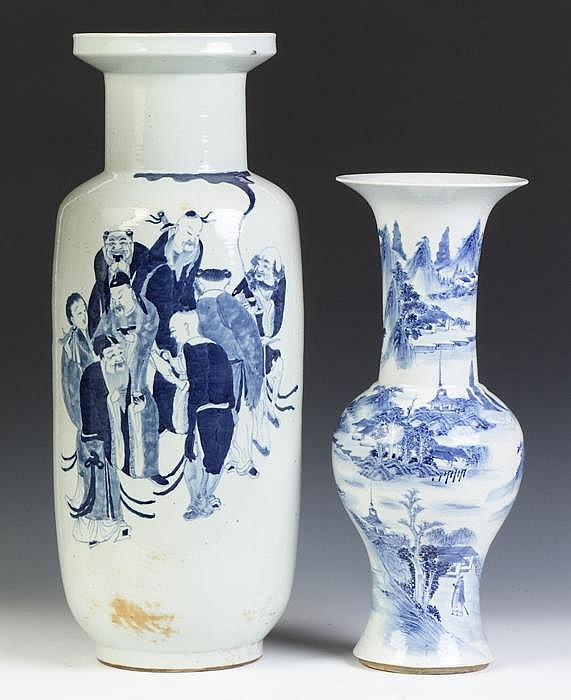Two Chinese Blue & White Porcelain Vases
