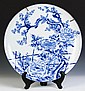 Signed Japanese Blue & White Porcelain Charger