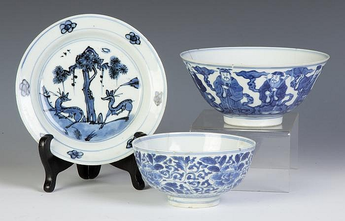 Two Signed Chinese Blue & White Porcelain Bowls & One Plate