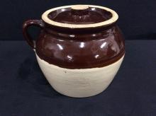 Lovely two tone glazed vintage handled bean pot