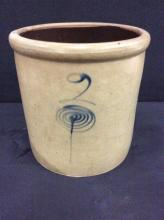 Antique late 1800's Midwest Americans 2 gallon crock with gorgeous markings