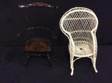 Set of two vintage and antique doll chairs