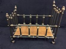 Antique ornate metal Victorian era doll crib