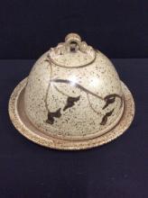 Vintage hand made Pottery lidded serving dish