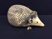 Unique vintage handmade clay porcupine statuette