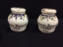 Pair of two Antique hand painted digoin sarreguemines mustard pots with kids