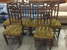 Set of 6 Antique Americana Dark Wood Chairs with green upholstery