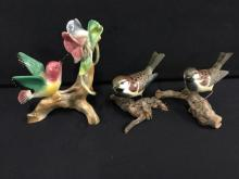 Deco Porcelain hand painted bird on branch and two wood birds