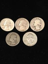 5 x silver washington quarters different dates and mint marks