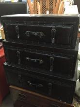 Unique 3 tier Leatherette Suitcase Dresser - one piece - like new!