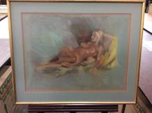 Original pastel nude drawing by listed South Dakota artist Jacqueline Rochester signed and framed