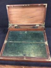 Circa 1820's British Navy Officers Portable Field Desk made by Hicks Manufacturing w/glass ink wells
