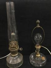 set of two antique oil lamps converted into lamps