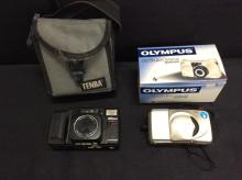2 vintage film cameras, a Nikon teletouch, and a Olympus stylus zoom 140