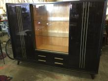 Beautiful mid century Black Lacquered High End 1950's German Shrunk - breaks down easily! good cond