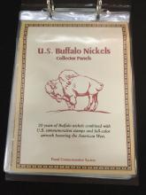 Binder of U.S. Buffalo nickels and vintage stamps.