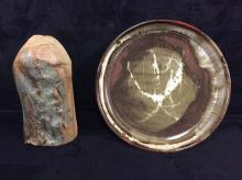 Beautiful set of art pottery - hand glazed and thrown - planter and plate