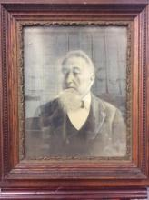 Antique self portrait charcoal original in frame - fair cond pairs with 250