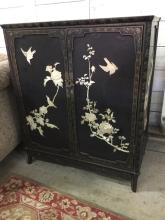 Vintage Asian Chest w/ hand painted shell Decoration & Brass details