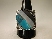 Old Native American Navajo Sterling Silver Turquoise Onyx MOP Ring Thick Heavy Size 11