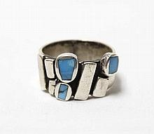 Native American Navajo Sterling Silver Turquoise Ring Size 9.5