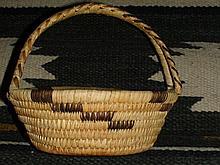 Old Native American Papago Tohono O'odham Hand Made Basket Handled