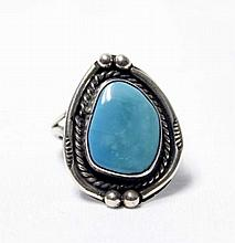 Native American Navajo Sterling Silver Turquoise Ring Size 6