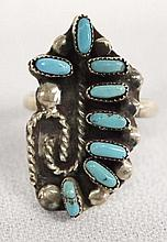 Native American Zuni Sterling Silver Turquoise Petit Point Ring Size 5