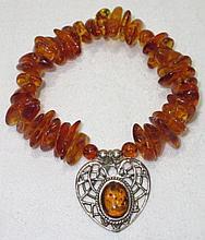 Vintage Baltic Amber Bead Sterling Silver Heart Pendant Stretchy Bracelet