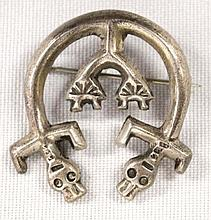 Antique Native American Navajo Sterling Silver Rainbow Man Naja Pin Brooch