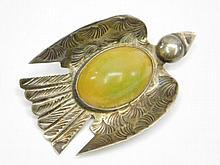 Antique Taxco Mexico Sterling Silver Sparrow Bird Jade Pin Brooch Art Deco