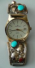 Native American Navajo Sterling Silver 12K Gold Turquoise Coral Watch Hamilton