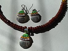 Native American Santo Domingo Sterling Silver Spiny Oyster Turquoise Necklace