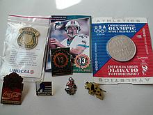 Lot Of Olympics Sports Baseball Football Memorabilia Pins Coins Pendants