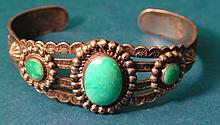 Antique Native American Navajo Sterling Silver Turquoise Bracelet Bell Trading