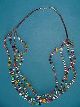 Native American Santo Domingo 4 Strand Turquoise Stone & Shell Beach Necklace