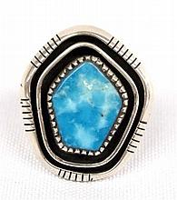 Native American Navajo Sterling Silver Turquoise Ring Size 8 Ray King