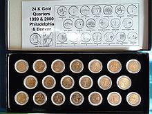 1999-2000 United States 24K Gold Plated State Quarter Set P & D Mints