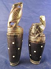Antique Lombok Island Carved Water Buffalo Horn Herb Containers Turtle / Heron
