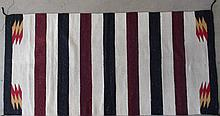 Native American Navajo Hand Woven Wool Rug Blanket 63 Inch X 32 Inch