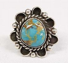 Native American Navajo Sterling Silver Turquoise Ring Size 6.25 HLB Old Pawn