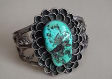 Native American Navajo Sterling Silver Blue Moon Turquoise Bracelet Francis Yazzie